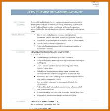 3 4 Heavy Equipment Operator Resume Objective Formatmemo