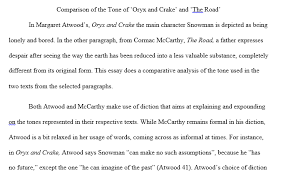 comparison of the tone of oryx and crake and the road  comparison of the tone of oryx and crake and the road