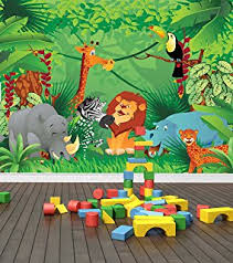 jungle wallpaper for kids.  For Jungle Zoo Animals Wall Mural Photo Wallpaper Safari Kids Bedroom Nursery  Large 1500mm X 1150mm Intended For N