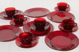 vintage ruby red glass dishes dinnerware set for 6 dinner plates for colored glass dinnerware