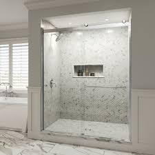 Rotolo Semi-Frameless 3/8-inch Glass Sliding… | Basco Shower Doors