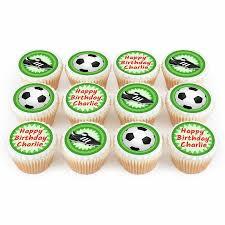 Twelve Personalised Soccer Football Birthday Cupcakes Bakerdays