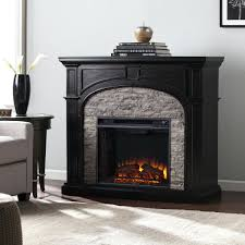 full image for castlecreek electric stone fireplace heater entertainment center ebony gray stacked faux