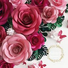 Pink Paper Flower Decorations Large Paper Flower Backdrop 30 40cm Wall Wedding Decoration Diy Photography Tool Ebay