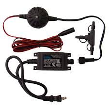 veranda 12 watt low voltage outdoor transformer with 9 ft harness wire and t connector kit 12 v transformer kit the home depot