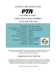 Pta Elections Flyer Pta Elections Nomination Slate For 2014 2015 Parent Groups Pfa