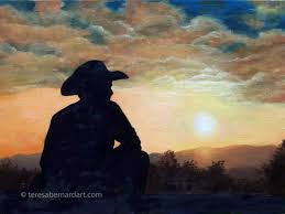 western sunset oil painting