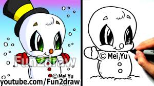 how to draw easy things how to draw a snowman for a christmas scene art lessons fun2draw
