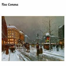 place de clichy in winter by edouard leon cortes hand painted oil painting reion replica