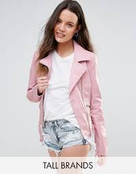 new look tall leather look jacket pink m25m4415