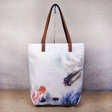 lucky koi fish chinese watercolor painting canvas tote