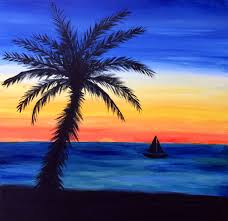 Easy Painting Easy Beach Sunset Paintings Painting Of Sunset Beach Paintings