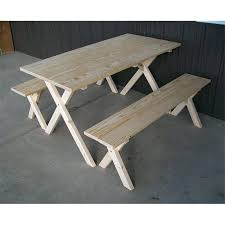 5 foot table pine economy 5 foot picnic table with 2 detached cross leg benches unfinished