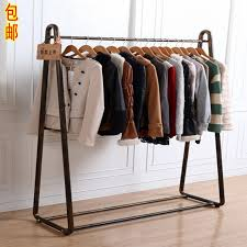 Clothes hanging shelf Drawers Retro Iron Clothing Rack Floor Type Horizontal Bar Display Rack Exhibition Rack Womens Hanging Hanger Shelf Chinahaocom Usd 3474 Retro Iron Clothing Rack Floor Type Horizontal Bar
