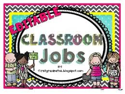 First Grade Job Chart Chevron And Polkadot Themed Job Chart Editable