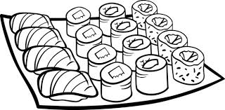 Sushi Lunch Cartoon Kleurplaat Vector Premium Download