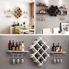 Image Is Loading Black White Wood Wall Wine Rack Bottle Glass