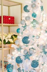 turquoise, silver and white Christmas tree decor