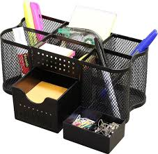 office desk organizer home desktop caddy paper tray pencil holder black mesh in business office office supplies