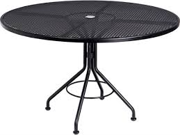 black metal outdoor furniture. Brilliant Outdoor Woodard Mesh Wrought Iron 48 Round Table With Umbrella Hole And Black Metal Outdoor Furniture