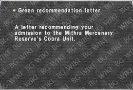 Pattern Of Reference Letter Green Recommendation Letter Bg Ffxi Wiki