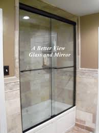 custom glass shower door installed in norfolk virginia 3 8 glass sliding door with oil rubbed bronze finish installed suffolk virginia