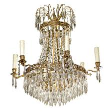 french six light crystal basket chandelier in empire style from the 19th century