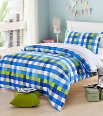 cute blue plaid bedding sets teens kids twin 100 cotton single home textiles bedsheets quilt cover pillow case queen duvet sets quilt sets from