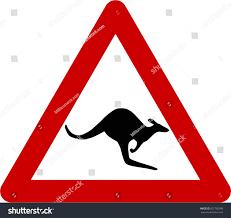 warning sign with kangaroos on road symbol