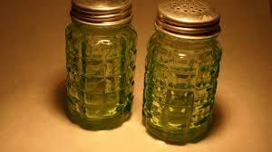 vintage hazel green depression glass salt pepper shakers