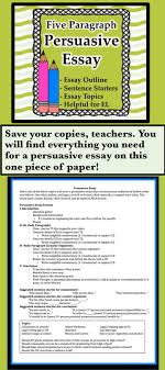 best persuasive essays ideas persuasive writing everything your students will need for a persuasive essay on just one piece of paper