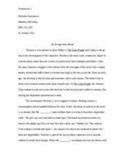 Essay On The Color Purple An Escape From Abuse Violence Is Ever