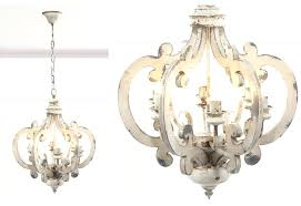 french country chandelier distressed wood white pendant light whi