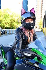 This affordable option allows you to do just that without having to buy a whole new helmet. Cat Ear Upgrade Installed On Shoei Motorcycle Helmet By Ja Motogeek Photo By Artofcurly Motorcycle Helmets Motorcycle Girl Womens Motorcycle Helmets