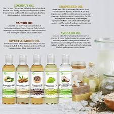 carrier oils for hair. variety of carrier oils, coconut, castor, grapeseed, avocado, and sweet almond oil \u2013 body blessing oils for hair l