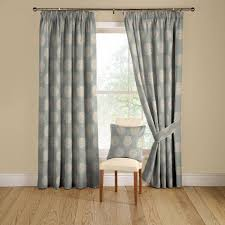 montgomery pom pom duck egg blue lined pencil pleat curtains 168cm wide