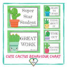 Teacher Resource Cute Cactus Behaviour Chart The Teacher