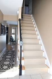 Stair Cool Cherry Wood Stair With Wooden Treats And Cream Wool Carpet Stair  Runner Combine With Dark Brown Hardwood Newel Post And White Twist Banister  ...