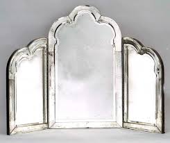 table top mirror. h30 1/2 w42 table top vanity mirror with a 5-way beveled border \u0026 center. s