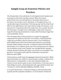 sample essay on economic policies and practices sample essay on economic policies and practices the financial plan is the utilization of central government