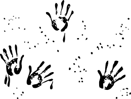 hand drawing finger painting black and white