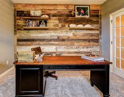 reclaimed wood office. Home Office Accent Wall Crafted Out Of Reclaimed Barn Wood [Design: Dan Calder Contractor D