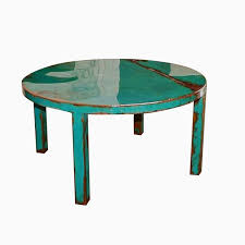 outdoor metal end tables custom made custom round metal coffee table art with beautiful turquoise and