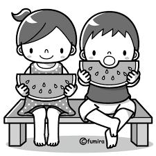 スイカを食べる子どものイラストモノクロ 子供と動物のイラスト屋
