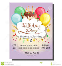 Balloon Birthday Invitations 2nd Birthday Party Invitation Card With Balloon And Topping Tart