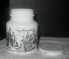 vintage white milk glass german hengstenberg mustard jar with orig metal lid
