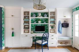 Chic home office Small Turning An Entryway Into Chic Home Office The Boston Globe Turning An Entryway Into Chic Home Office The Boston Globe