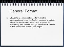 Mla Formatting And Style General Format Mla Style Specifies