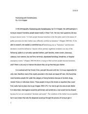 ethnography study resources 6 pages anth 105 reckoning homelessness essay