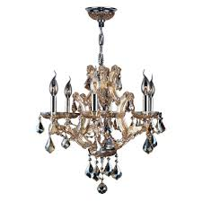 worldwide lighting lyre collection 6 light chrome with amber crystal chandelier